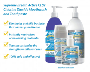 supreme breath active cl02 chlorine dioxide mouthwash and toothpaste